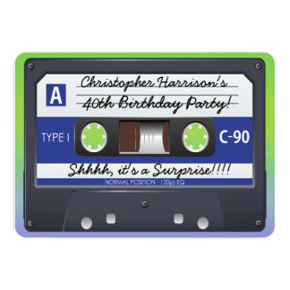 Surprise Party Retro 80s Cassette Tape 13 Cm X 18 Cm Invitation Card