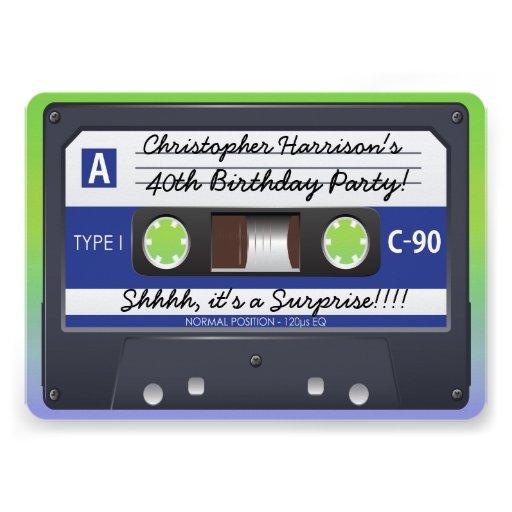 Surprise Party Retro 80s Cassette Tape Invitations
