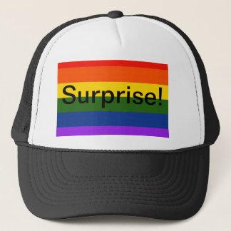 Surprise rainbow trucker hat