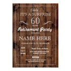 SURPRISE Retirement Party Rustic Wood Years Invite
