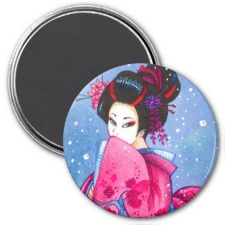 "Surprise Snow 3"" Magnet, Maiko Geisha Art 7.5 Cm Round Magnet"