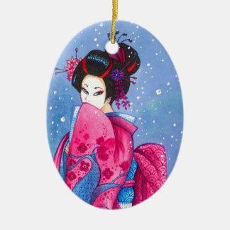 Surprise Snow Geisha Art Personaized Ornament