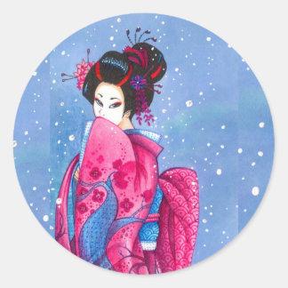 Surprise Snow Sticker, Large, Maiko Geisha Art Round Sticker