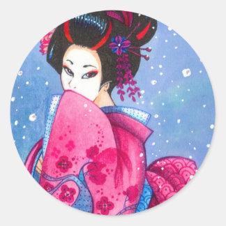 Surprise Snow Sticker, Small, Maiko Geisha Art Round Sticker