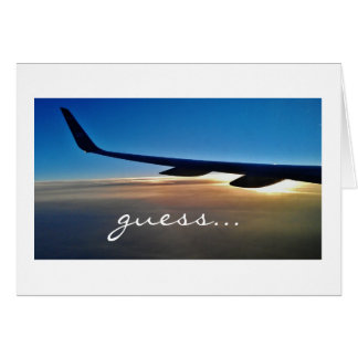 Surprise trip Airplane and sunrise Greeting Cards
