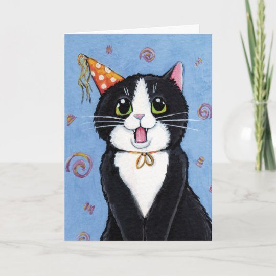 Tuxedo Cat Happy Birthday Card