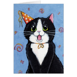 Surprise! | Tuxedo Cat Happy Birthday Card