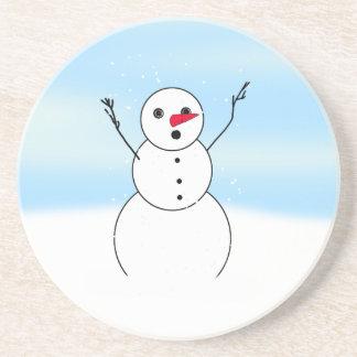 Surprised Boyfriend Snowman Drink Coaster