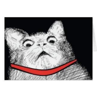 Surprised Cat Gasp Meme - Greeting Card