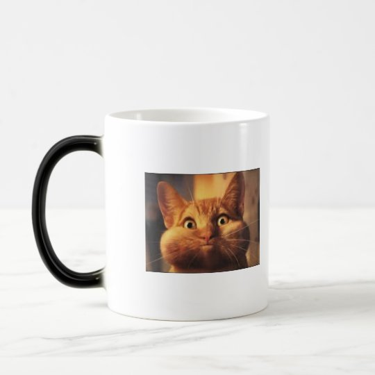 Surprised Cat Morphing Mug