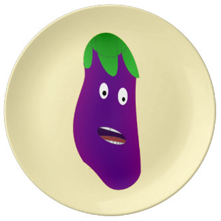 Surprised Eggplant by Kenneth Yoncich Porcelain Plates