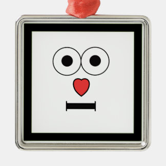 Surprised Face with Heart Nose Christmas Ornament