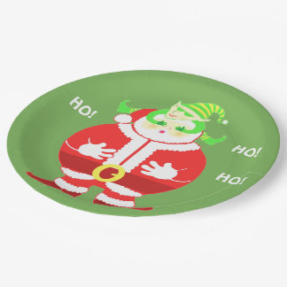 Surprised Santa (green) paper plate