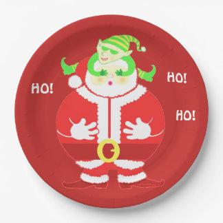 Surprised Santa paper plate