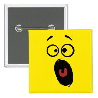 Surprised Scared Screaming Yellow Smiley Face 15 Cm Square Badge