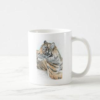Surprised Tiger Watercolour Basic White Mug