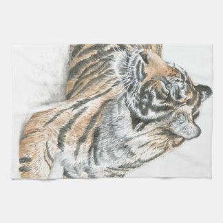 Surprised Tiger Watercolour Tea Towel