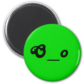 surprised worried O underscore o text emote face 6 Cm Round Magnet