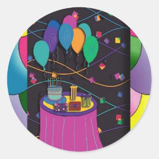 surprisepartyyinvitationballoons round sticker