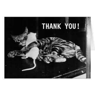 Surprising Friendship Cat and Mouse | Thank You Greeting Card