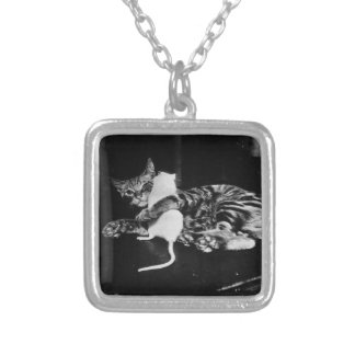 Surprising Friendship - Cat Minnie and Mike Mouse Square Pendant Necklace