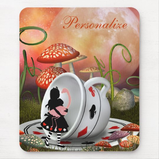 Surreal Alice, Flamingo & Teacup Mousepad