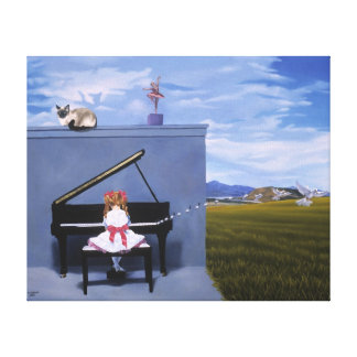 Surreal Art Print The Piano Player Stretched Canvas Prints