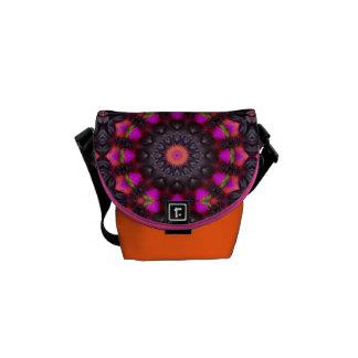 Surreal Blossoms, Flower Mandala Messenger Bags