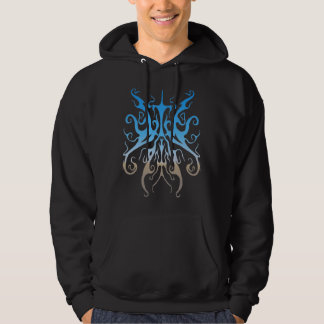 Surreal Butterfly Tribal Tattoo - blue Hoodie