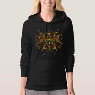 Surreal Butterfly Tribal Tattoo - gold Hoodie