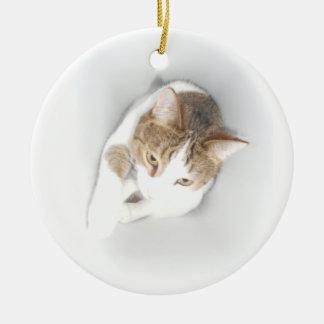 Surreal Cat in the Light Round Ceramic Decoration