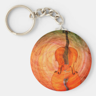 Surreal Cello With Musical Notes Key Ring