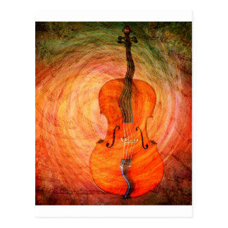 Surreal Cello With Musical Notes Postcard