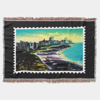 Surreal Colors of Miami Florida Coastline Stamp