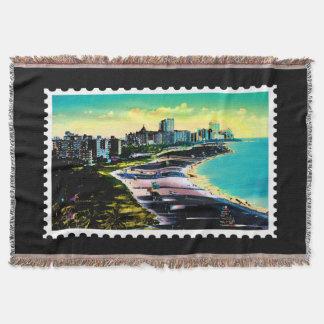 Surreal Colors of Miami Florida Coastline Stamp