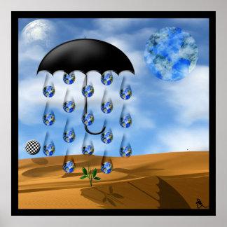 Surreal Desert Rain Posters