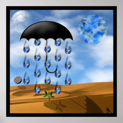 Surreal Desert Rain Poster