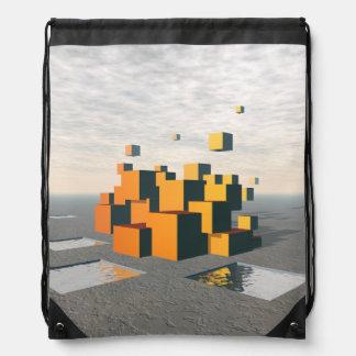 Surreal Floating Cubes Drawstring Backpack