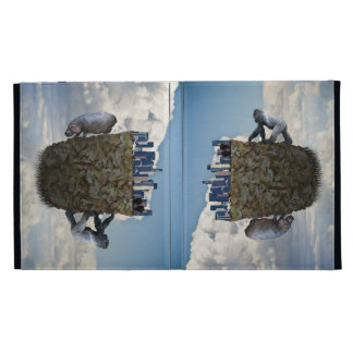 Surreal floating Los Angeles and animals iPad case