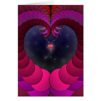 Surreal Fractal Fantasy Art Heart in Space Card