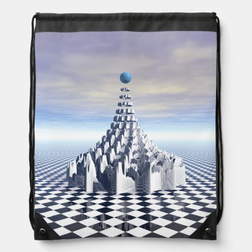 Surreal Fractal Tower Drawstring Bag