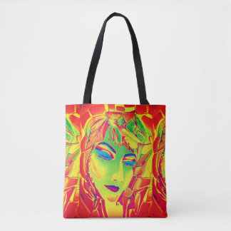 Surreal girl watercolor painting tote bag