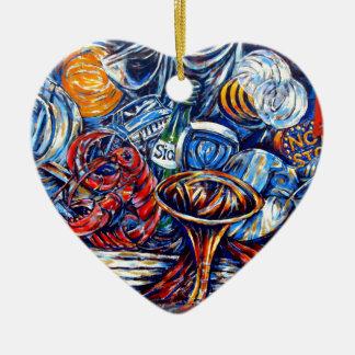 Surreal graffiti ceramic heart decoration