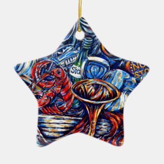 Surreal graffiti ceramic star decoration