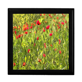 Surreal Hypnotic Poppies Large Square Gift Box