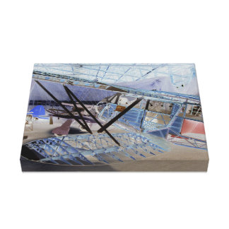 Surreal image of a vintage plane in its hangar canvas prints