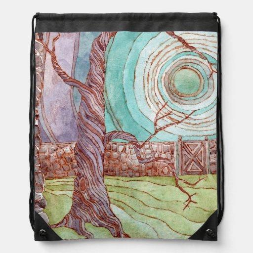 Surreal Landscape Watercolor Drawstring Backpacks