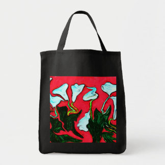 surreal lilies grocery tote grocery tote bag