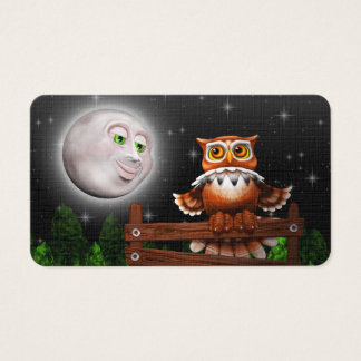 Surreal Owl and Moon Business_cards