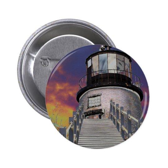 Surreal Owls Head Lighthouse 6 Cm Round Badge